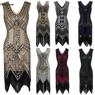 Deluxe Ladies 20s 1920s Roaring Flapper Costume Sequin Gatsby 20's Fancy Dress