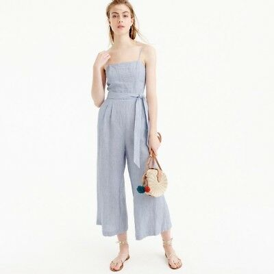 3bf2a401ff3 J.CREW STRIPED LINEN Jumpsuit with tie Caramel Ivory Size 8  128 ...