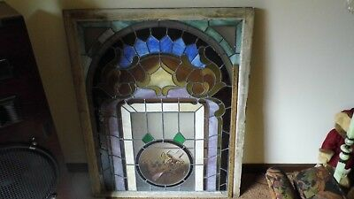 Antique/Vintage Church Stain Glass Window With Cross