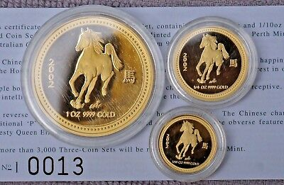 2002 Year Of The Horse - Australian Lunar Proof Gold Coin Series 1 - 3 coin set