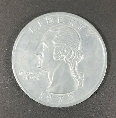 Large 3 Inch Novelty 1972 Washington Quarter Medal/Coin/Coaster/Paperweight Used