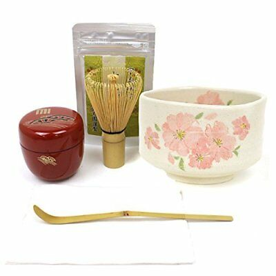 Authentic Matcha Tea Set Powder/Bamboo Whisk/Bowl/Scoop/Caddy/Cloth Japanese F/S