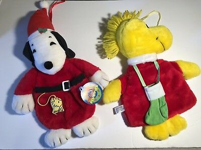 Vintage Peanuts Plumpies nwt Snoopy & Woodstock '65, '72 Plush X-mas Stockings