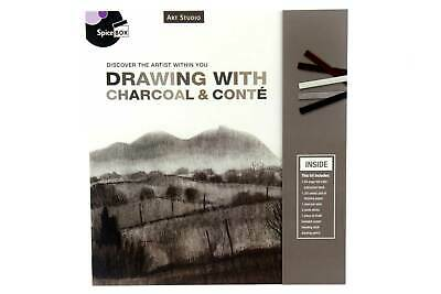 ART KIT Drawing with Charcoal & Conte - Includes Charcoal Paper Pad Chalk + MORE