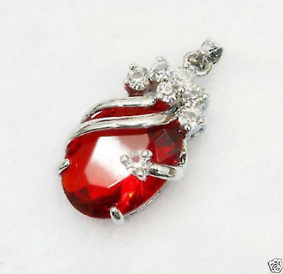 Solitaire red Silver Crystal Pendant With Necklace