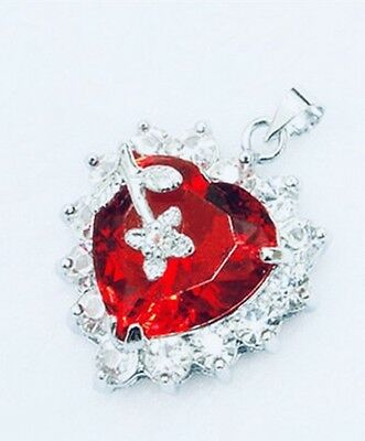 Jewelry red CZ Necklace Pendant Free Chain