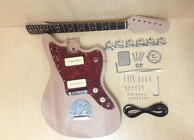 Jazzmaster Style Electric Guitar DIY Kit, Mahogany Solid Body & Neck,No-Solder