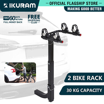 "IKURAM 2 Bicycle Bike Car Carrier Rear Rack 2"" Hitch Mount TowBar Foldable Steel"