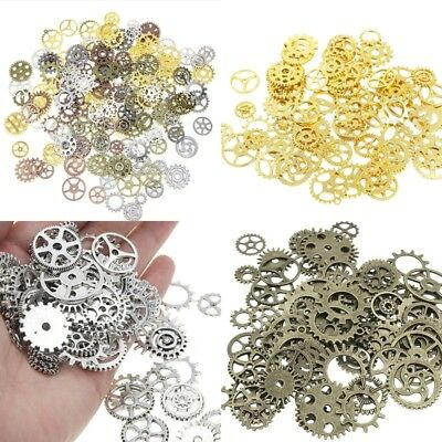 100g Steampunk Set Cyberpunk Jewellery Cogs and Gears Watch Parts Craft ASY