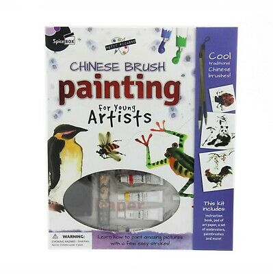 CHINESE BRUSH PAINTING ART KIT Includes Paper Watercolors Paint Brushes & More!