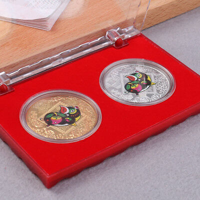 2pcs the Chinese zodiac pig anniversary coins commemorative coins tourism art AT