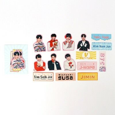 15pcs/set KPOP BTS Stickers DIY Album Scrapbook Sticker Cartoon Photo Stickers