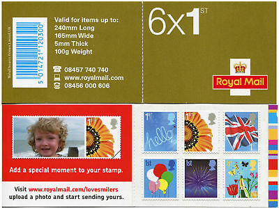 GB 2008 First Class Smilers self adhesive stamps Booklet. QA4 1st class. VGC