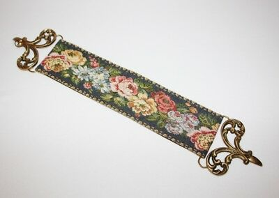 CORONA DECOR CO - Floral Bell Pull with Brass Hardware - Blue Pink Gold White