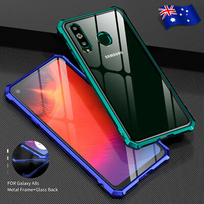 For Samsung Galaxy A8s Shockproof Metal Frame Clear Tempered Glass Case Cover AU