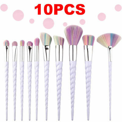 10PCS Unicorn Roses Spiral Make Up Brushes Set Face Foundation Powder Blusher