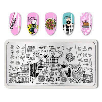 BORN PRETTY Rectangle Nail Stamping Plate Manicure Stamp DIY Thanksgiving-L003
