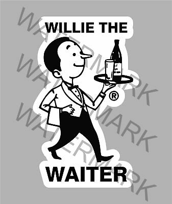 Willie The Waiter Waikato Beer Sticker For Esky Toolbox Fridge Mancave Etc