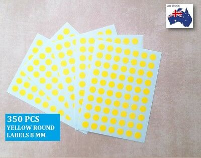 350 Pcs Round Stickers Circle Dots Spots Colour Code Small Yellow 8mm