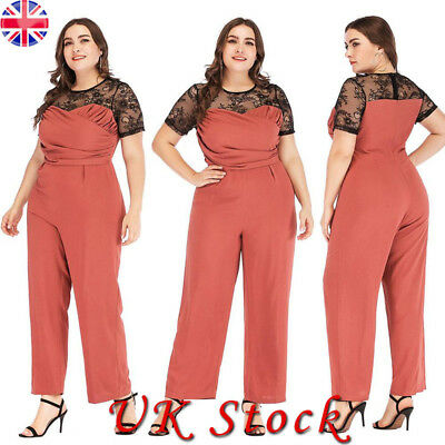 Plus Size Womens Evening Party Playsuit Ladies Lace Long Jumpsuit Short Sleeve