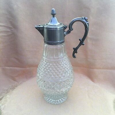 Tall Vintage Silver Plate & Cut Glass Wine Claret Decanter Pitcher Made in Italy
