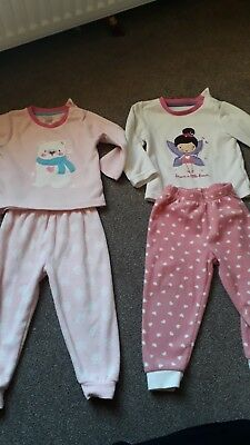 Girls Early Days Primark Fleece pyjamas 12-18 Months. 2 pairs