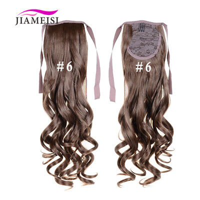 "Women's Hair Ponytail Curly Wave Wrap Around Synthetic Hair Pieces 22"" 100g"