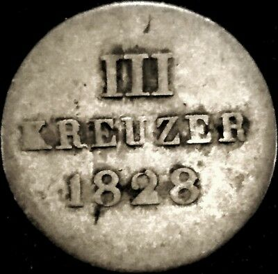 1828 Germany - Nassau 3 Kreuzer Silver Coin KM#50 Mintage 307,900, last Yr issue