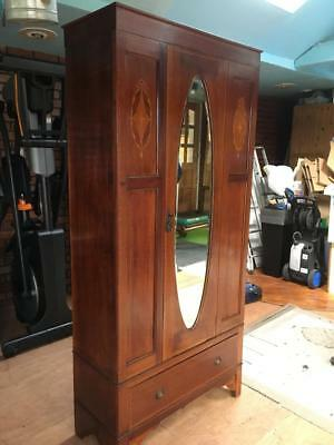 Lovely Compact Edwardian, Mahogany with Inlay Wardrobe, Bevelled Mirror Door.