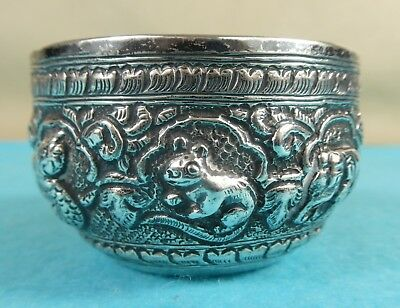 Indian Colonial Sterling Silver Bowl Chased Elephant Dog of Fo Fish Mouse Ca1900