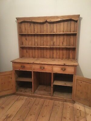 Large old Victorian Pine Welsh Dresser
