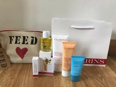 Clarins Moisture Rich Lotion, Pure Melt, Refiner, Sos Mask Feed 10 Bag Gift Set