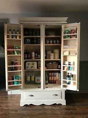 Solid Pine Kitchen Larder F&B Shaded White  *Delivery from £45