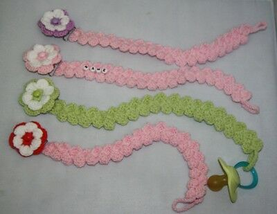 Handmade crochet baby pacifier dummy holder / clip / personalised dummy holder