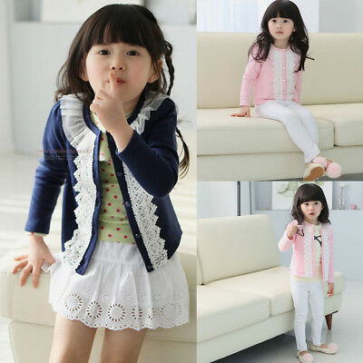 Girls Knit Cardigan Jacket Kids Baby Long Sleeve Comfort Coat Outwear Clothes US