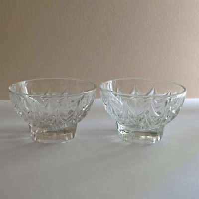 2 x Shabby Vintage Depression Glass Sweets Candy Dishes Bowls