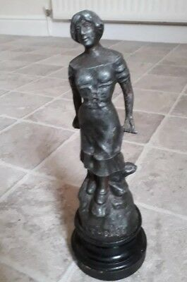 Spelter pecheuse figure approx 12 inches high on wooden base