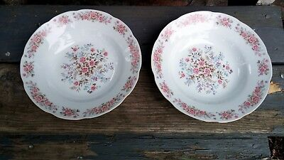 2 Remington Red Sea Fine China of Japan Pink Roses Gold Trim Lg Rim Soup Bowls