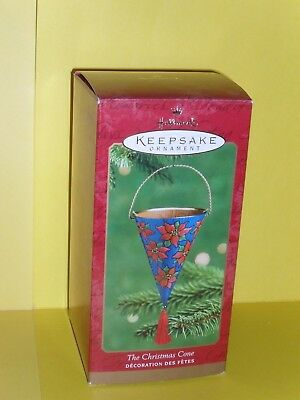 2001 Hallmark The Christmas Cone Pressed Tin Ornament MIB Never Displayed