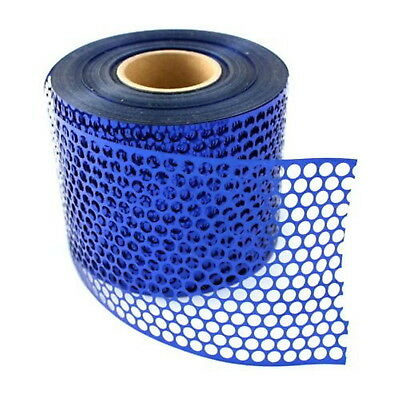 Sequin Waste (Punchinella) - 1 METRE of BLUE  CIRCLES design - 83mm width