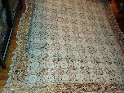 Vintage French Hand-Made Lace Crochet Coverlet Bedspread LARGE 90 X 73