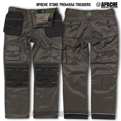 Apache Grey Combat Cargo Work Wear Cordura Trousers Kneepad & Holster Pocket