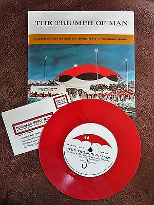 1964-65 New York World's Fair Souvenir RED 33 1/3 Record The Triumph Of Man