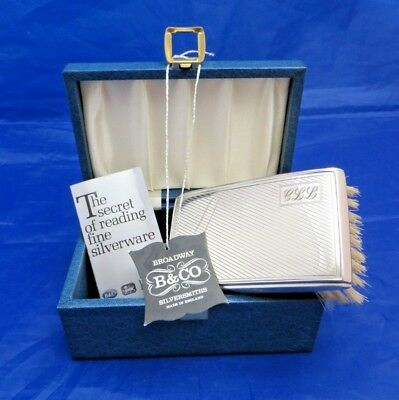 Broadway & Co Silversmiths Filled Sterling Silver Clothes Brush Hallmarked