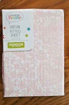 BRAND NEW Girls Cute Pink Patterned Toddler Bed Junior Fitted Sheet 70cm x 140cm