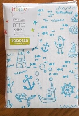 BRAND NEW Boys Cute Blue Nautical Toddler Bed Junior Fitted Sheet 70cm x 140cm
