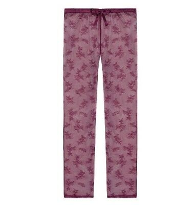 Victoria's Secret VS Sheer All Over Lace Pant Very Sexy Lingerie Burgundy L NEW