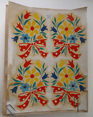 Vintage Meyercord Beauty Spot Decal Primary Bouquet 2 New Old Stock