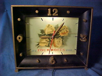 """Four Roses Whiskey 1950's Lighted Bar Sign Clock """"its Four Roses Time"""" Works"""