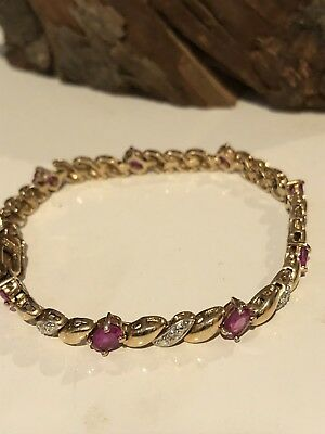 Vintage Ross Simmons Gold Wash Sterling Oval Ruby Diamond Chip Tennis Bracelet
